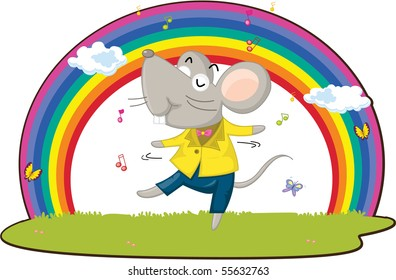 Illustration of A Dancing Rat on white background
