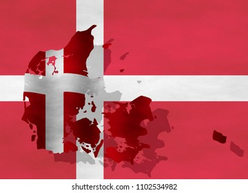 Illustration of a Danish Flag with a contour of borders
