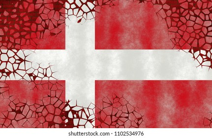 Illustration of a Danish Flag, imitating of a painting on the old wall with cracks