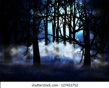 Illustration of dark forest in a blue mist at night background.