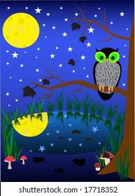illustration of dark night background. owl