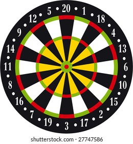 Illustration of dart board on white background