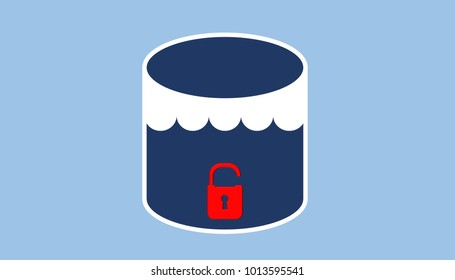 Illustration of data lake security vulnerability. Open padlock on datalake storage