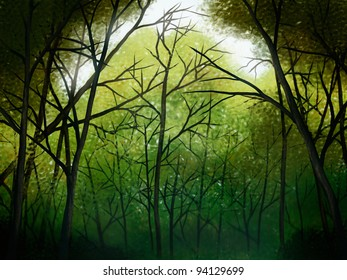 illustration of a deep green forest