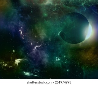 An illustration of deep space. No images from NASA were used in the making of this image, nor is it meant to be scientifically accurate, but artistic.