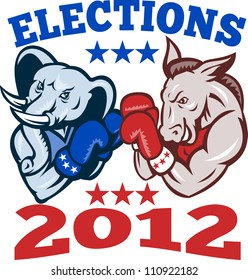 Illustration of a democrat donkey mascot of the democratic grand old party gop and republican elephant boxer boxing with gloves set inside circle done in retro style with words elections 2012