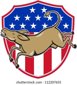 Illustration of a democrat donkey mascot of the democratic party jumping set inside american stars and stripes shield done in cartoon style.