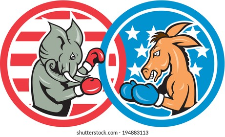 Illustration of a democrat donkey mascot of the democratic and republican elephant boxer boxing set inside two circle with American stars and stripes done in cartoon style.