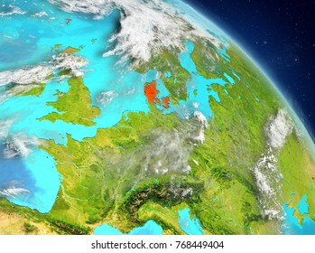 Illustration of Denmark as seen from Earthâ??s orbit. 3D illustration. Elements of this image furnished by NASA.