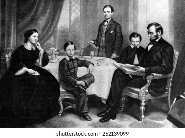 Illustration depicting Abraham Lincoln reading to his family, c. 1860s.