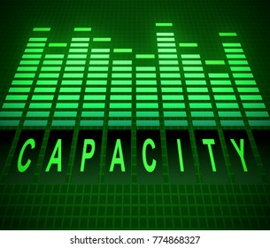 Illustration depicting abstract green graphic equalizer levels with a capacity concept.