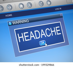 Illustration depicting a computer dialog box with a headache concept.