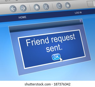 Illustration depicting a computer dialogue box with a friend request concept.