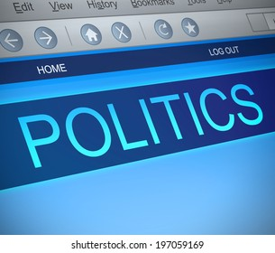 Illustration depicting a computer screen capture with a politics concept.