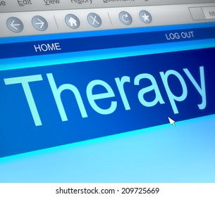 Illustration depicting a computer screen capture with a therapy concept.