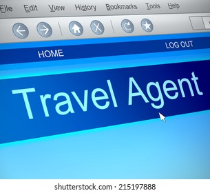 Illustration depicting a computer screen capture with a Travel agent concept.