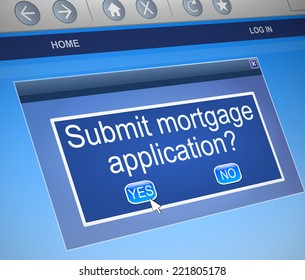 Illustration depicting a computer screen capture with a mortgage concept.