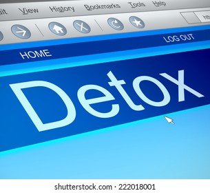 Illustration depicting a computer screen capture with a detox concept.