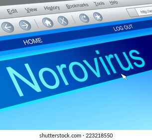 Illustration depicting a computer screen capture with a norovirus concept.