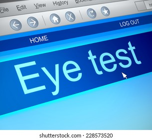 Illustration depicting a computer screen capture with an eye test  concept.