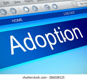 Illustration depicting a computer screen capture with an adoption concept.