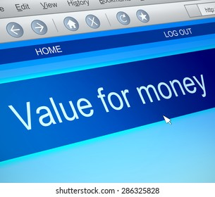 Illustration depicting a computer screen capture with a value for money concept.