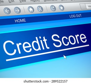 Illustration depicting a computer screen capture with a credit score concept.