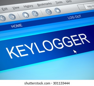 Illustration depicting a computer screen capture with a keylogger concept.