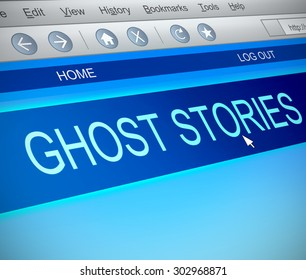 Illustration depicting a computer screen capture with a ghost stories concept.