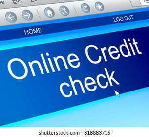 Illustration depicting a computer screen capture with an online credit check concept.