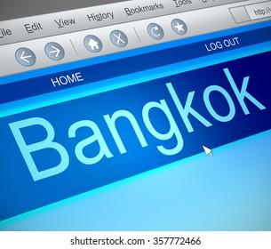 Illustration depicting a computer screen capture with a Bangkok concept.