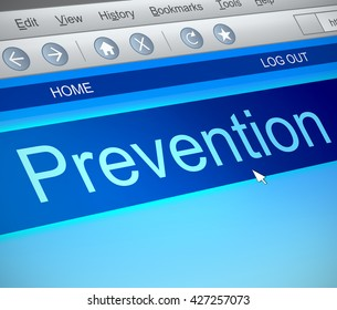 Illustration depicting a computer screen capture with a prevention concept.