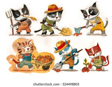 illustration depicting the cute kittens who are farmers. Hand drawn