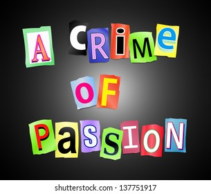 Illustration depicting cutout printed letters arranged to form the words a crime of passion.