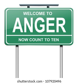 Illustration depicting a green roadsign with an anger concept. White background.