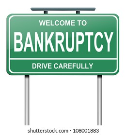 Illustration depicting a green roadsign with a bankruptcy concept. White background.