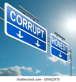 Illustration depicting a highway gantry sign with a corrupt or honest concept. Blue sky background.