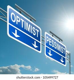 Illustration depicting a highway gantry sign with an optimist or pessimist concept. Blue sky background.