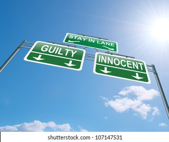 Illustration depicting a highway gantry sign with a innocent or guilty concept. Blue sky background.
