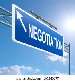 Illustration depicting a highway gantry sign with a negotiation concept. Blue sky background.