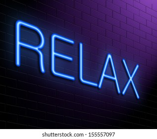 Illustration depicting an illuminated neon sign with a relax concept.