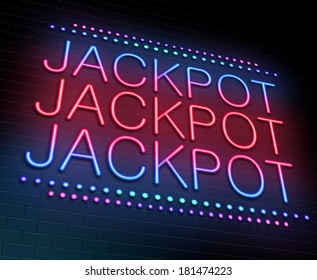 Illustration depicting an illuminated neon sign with a jackpot concept.