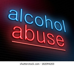 Illustration depicting an illuminated neon sign with an alcohol abuse concept.