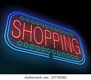 Illustration depicting an illuminated neon sign with a shopping concept.