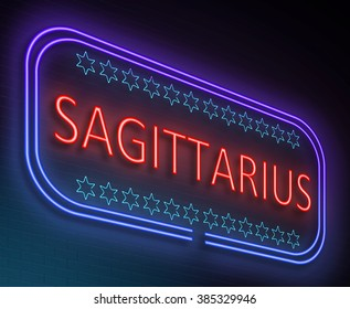 Illustration depicting an illuminated neon sign with a sagittarius concept.