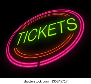 Illustration depicting an illuminated tickets sign.