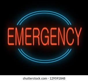 Illustration depicting a neon sign with an emergency concept.