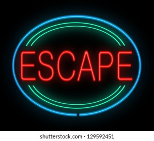 Illustration depicting a neon sign with an escape concept.