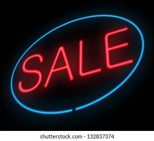 Illustration depicting a neon sign with a sale concept.