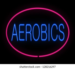 Illustration depicting a neon signage with an aerobics concept.